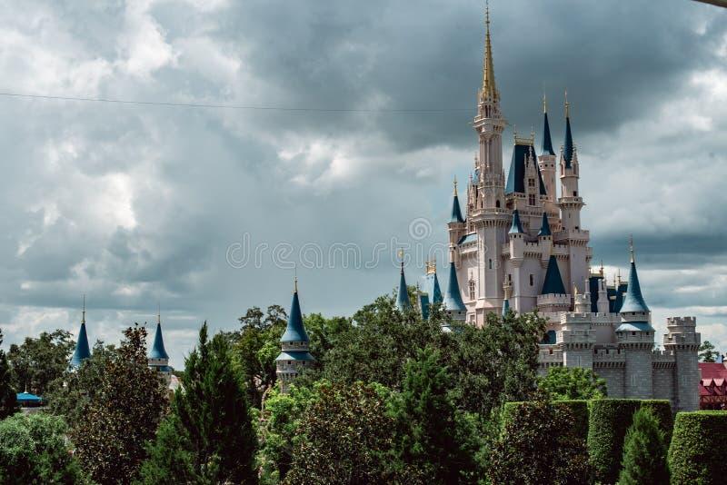 August 15, 2018 - Orlando, FL: View of Cinderella`s castle at the Walt Disney World amusement park. August 15, 2018 - Orlando, FL: Cinderella`s castle at the stock images