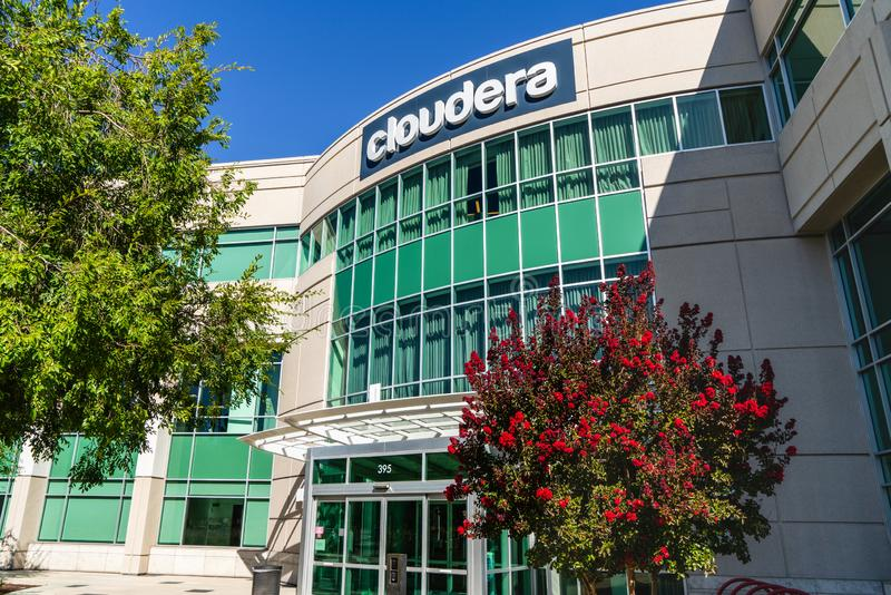 August 15, 2019 Palo Alto / CA / USA - Cloudera headquarters in Silicon Valley; Cloudera, Inc provides a software platform for. Data engineering, data royalty free stock photography