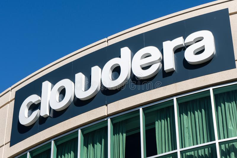 August 15, 2019 Palo Alto / CA / USA - Cloudera sign at their HQ in Silicon Valley; Cloudera, Inc provides a software platform for. Data engineering, data royalty free stock photos