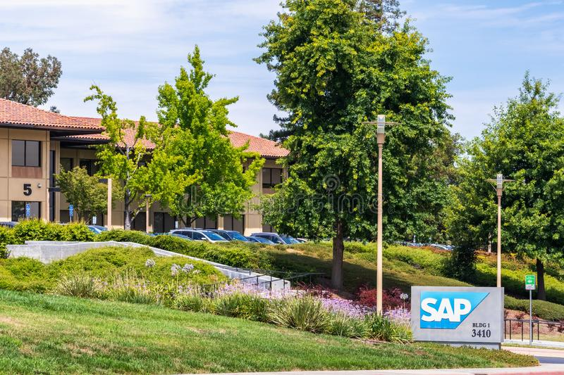 August 5, 2019 Palo Alto / CA / USA - SAP office campus located in Silicon Valley; SAP SE is a German multinational software royalty free stock photos