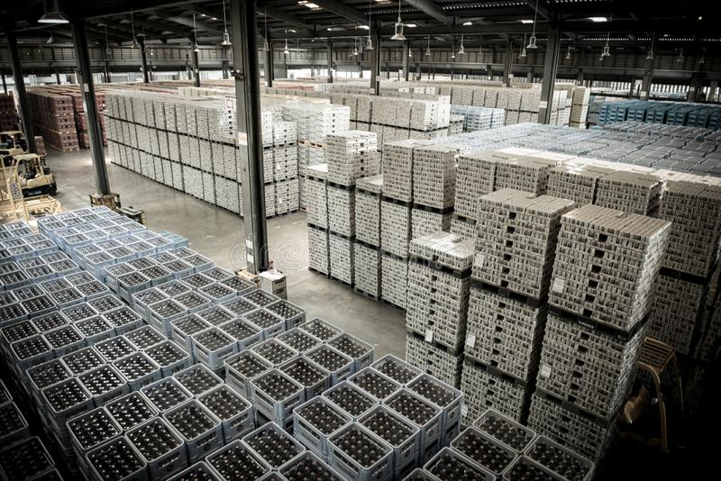 1 August 2019 Pathumthani Thailand Beer storage warehouse.  royalty free stock photos