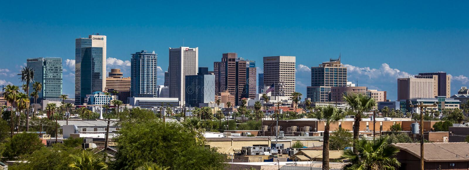 AUGUST 23, 2017 - PHOENIX ARIZONA - Panoramic skyline view of Phoenix. House, Blue stock images
