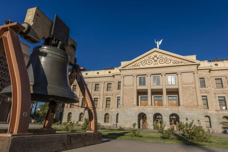 AUGUST 23, 2017 - PHOENIX ARIZONA - Replica of Liberty Bell in front of Arizona State Capitol. State, Capital. AUGUST 23, 2017 - PHOENIX ARIZONA - Replica of stock photography