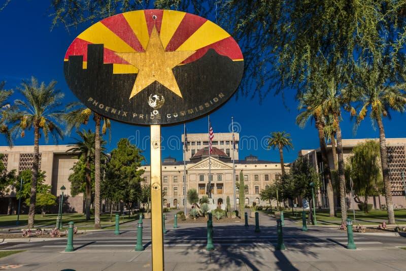 23. August 2017 - PHOENIX ARIZONA - Staat Arizona-Kapitol-Gebäude bei Sonnenaufgang, Phoenix, Arizona Kapitol, amerikanisch lizenzfreie stockfotos