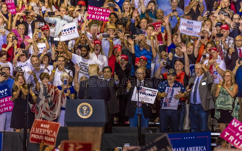 AUGUST 22, 2017, PHOENIX, AZ U.S. President Donald J. Trump speaks to crowd of supporters at the. Crowd, Civics. AUGUST 22, 2017, PHOENIX, AZ U.S. President stock photography