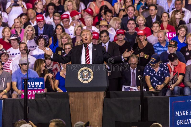 AUGUST 22, 2017, PHOENIX, AZ U.S. President Donald J. Trump speaks to crowd of supporters at the. Enthusiastic, 2016 Presidenti. AUGUST 22, 2017, PHOENIX, AZ U.S royalty free stock photography