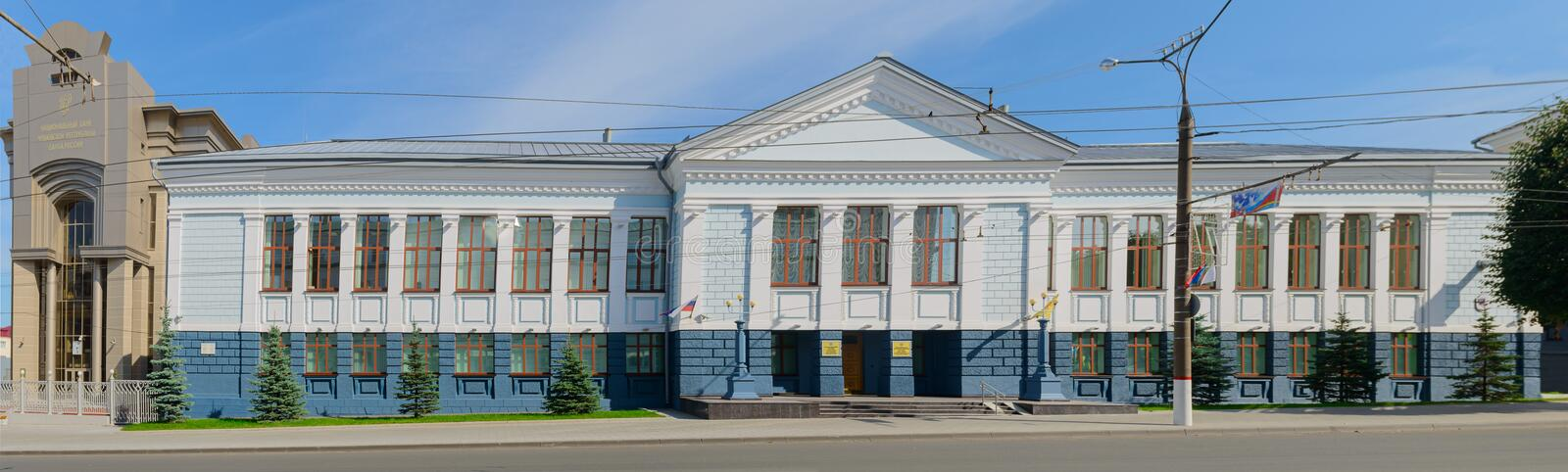 Photo of the facade of the building of the National Bank of the Chuvash Republic. Cheboksary. Russia. August 23, 2019: Photo of the facade of the building of the royalty free stock photography