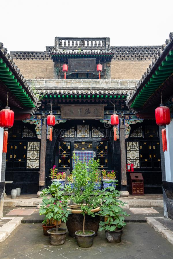 August 2013 - Pingyao, Shanxi-Provinz, China - einer der H?fe von Ri Sheng Chang, die ?lteste Bank in der Welt in Pingyao lizenzfreie stockfotografie