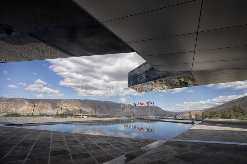 Modern architecture of the UNASUR building Quito royalty free stock photos