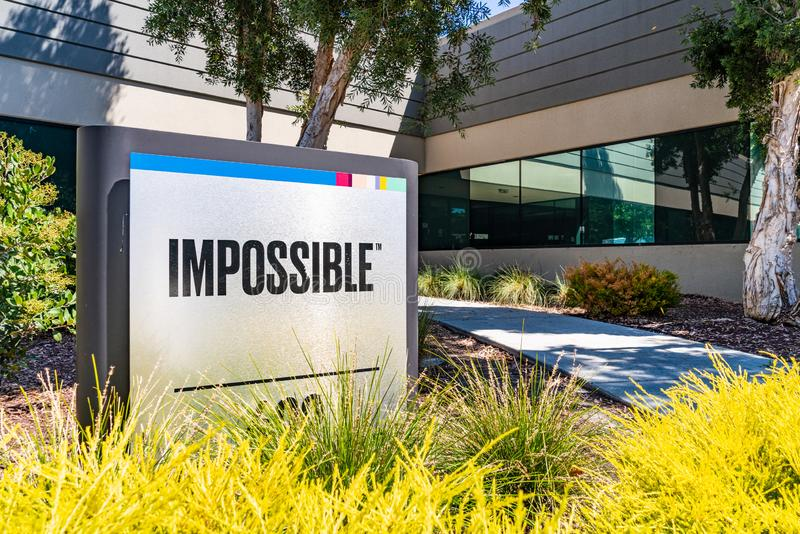 August 1, 2019 Redwood City / CA / USA - Impossible Foods corporate headquarters in Silicon Valley; Impossible Foods Inc. is a. Company that develops plant stock photos