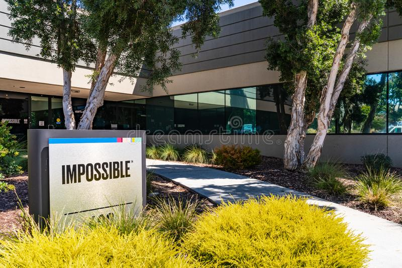 August 1, 2019 Redwood City / CA / USA - Impossible Foods corporate headquarters in Silicon Valley; Impossible Foods Inc. is a. Company that develops plant royalty free stock images