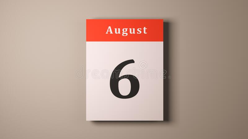 August 6 Remembrance Day for Hiroshima bombing victims calendar pages.  royalty free stock photos