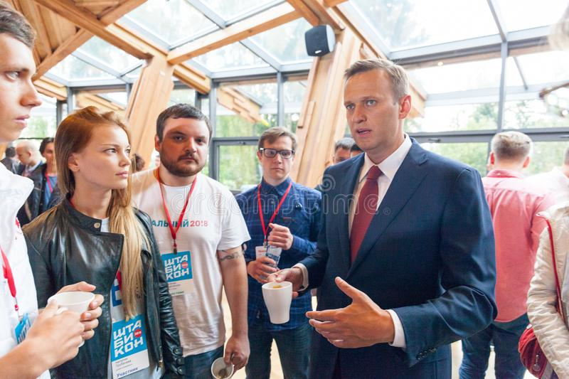29 August 2017, RUSSIA, MOSCOW : Leader of the Russian opposition Alexei Navalny. During the congress of headquarters of the presidential election campaign in stock images