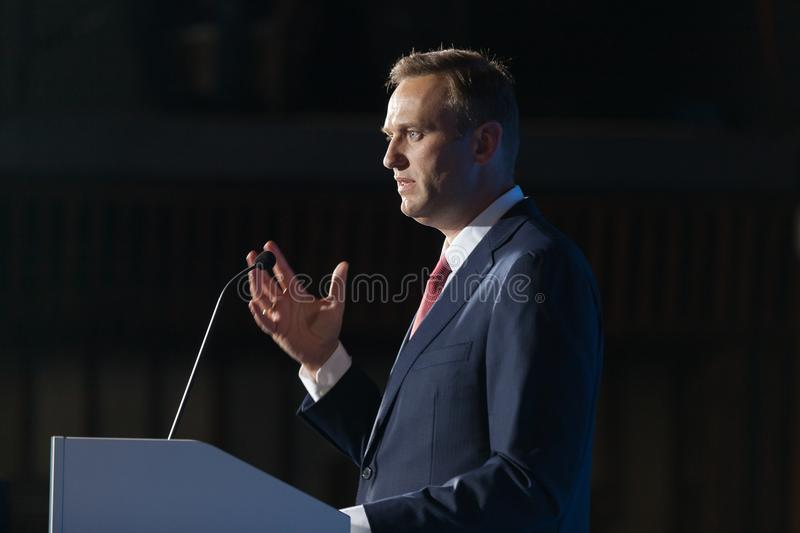 29 August 2017, RUSSIA, MOSCOW : Leader of the Russian opposition Alexei Navalny. During the congress of headquarters of the presidential election campaign in stock photography