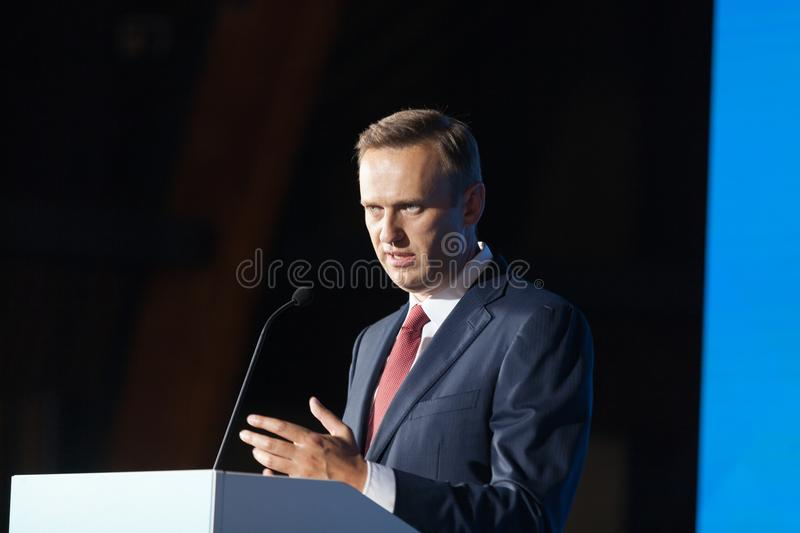 29 August 2017, RUSSIA, MOSCOW : Leader of the Russian opposition Alexei Navalny. During the congress of headquarters of the presidential election campaign in royalty free stock photography