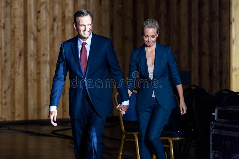 29 August 2017, RUSSIA, MOSCOW :Leader of the Russian opposition Alexei Navalny with his wife during the congress of headquarters. Leader of the Russian stock photos