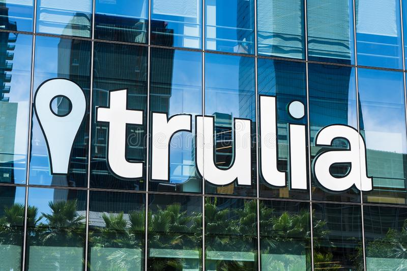 August 21, 2019 San Francisco / CA / USA - Close of Trulia owned and operated by Zillow Group, Inc sign at their headquarters in. SOMA  district royalty free stock photo