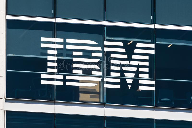 August 21, 2019 San Francisco / CA / USA - Close up of IBM logo at their headquarters located in SOMA district, downtown San royalty free stock photos
