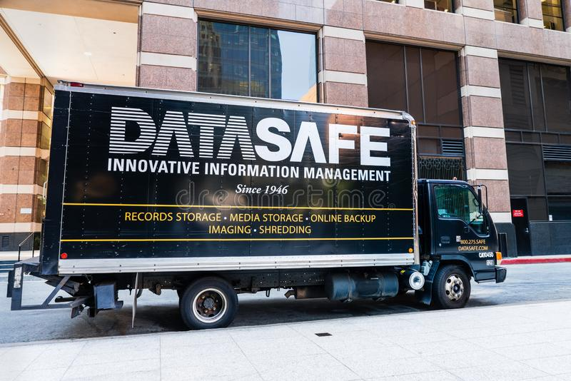 August 21, 2019 San Francisco / CA / USA - Datasafe truck providing document management solutions storage, online backup, stock photo