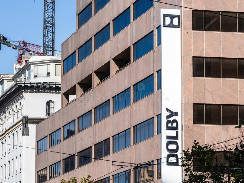 August 21, 2019 San Francisco / CA / USA - Dolby headquarters in downtown San Francisco; Dolby Laboratories, Inc. is an American. Company specializing in audio royalty free stock image