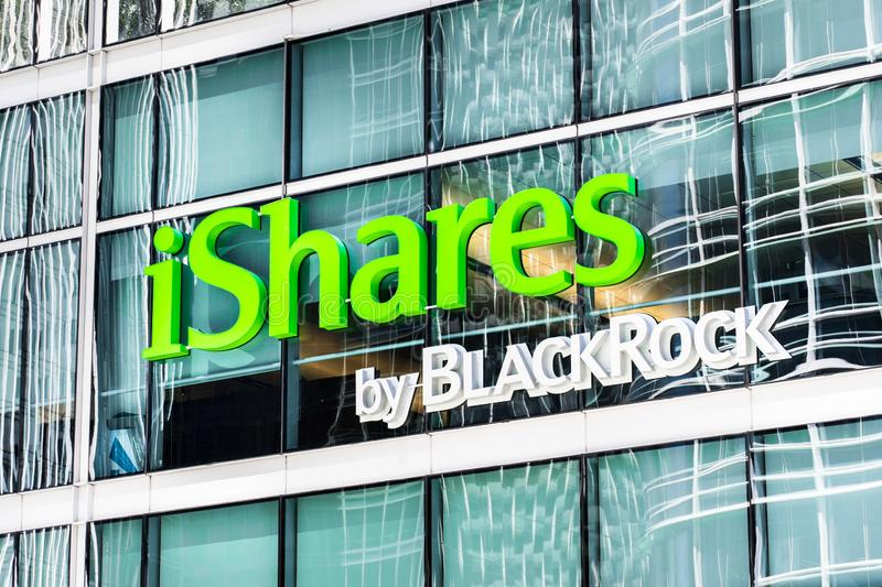 August 21, 2019 San Francisco / CA / USA - iShares by BlackRock headquarters in SOMA district; iShares is a family of ETFs managed. By BlackRock is an American stock photo