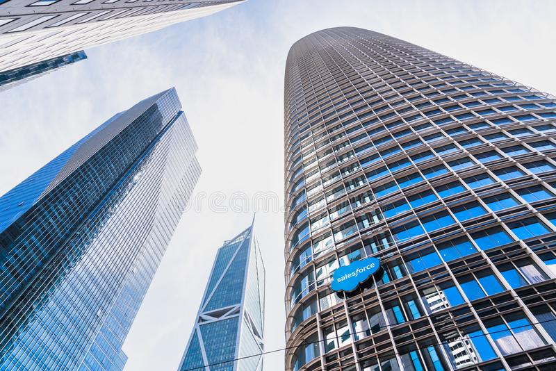 August 21, 2019 San Francisco / CA / USA - Salesforce tower, the Company`s new corporate HQ; Two residential buildings Millenniu. M tower and 181 Fremont Street stock images