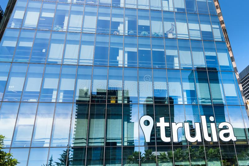 August 21, 2019 San Francisco / CA / USA - Trulia owned and operated by Zillow Group, Inc headquarters in SOMA  district royalty free stock photo