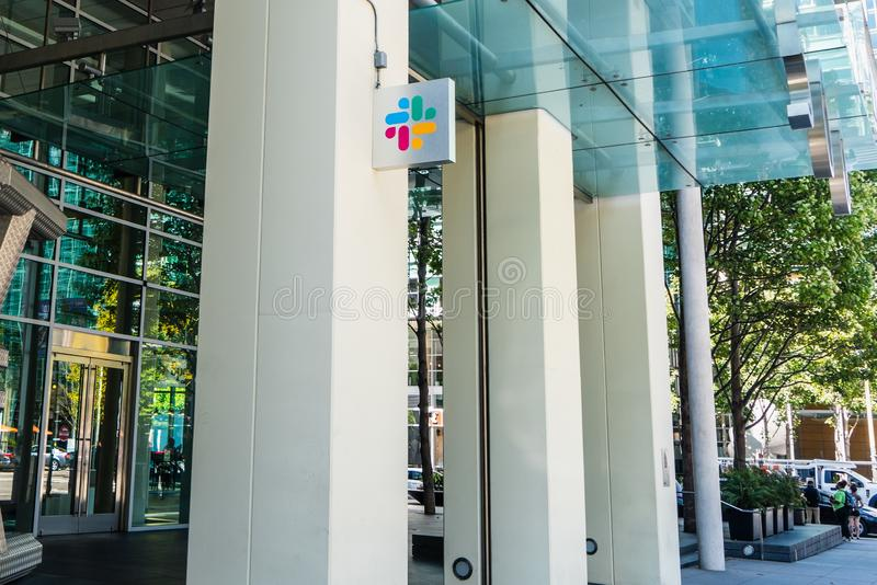 August 21, 2019 San Francisco / USA - Slack Technologies, Inc. headquarters in SOMA district; Slack its main product is a cloud-. Based set of collaboration stock images
