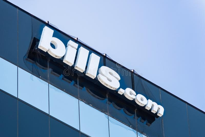 August 24, 2019 San Mateo / CA / USA - Bills.com sign at their headquarters in Silicon Valley; Bills.com a subsidiary of Freedom. Financial Network is a US stock images