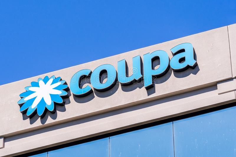 August 24, 2019 San Mateo / CA / USA - Close up of Coupa sign at their headquarters in Silicon Valley; Coupa Software is a global. Technology platform for stock images