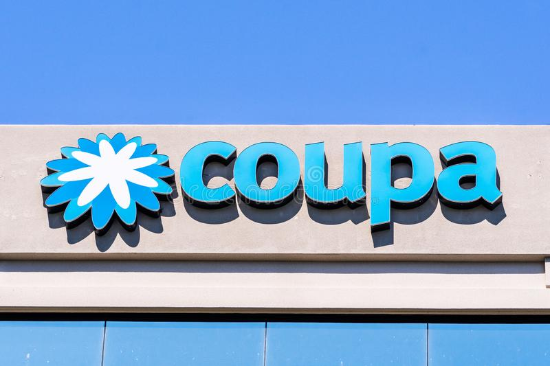 August 24, 2019 San Mateo / CA / USA - Close up of Coupa sign at their headquarters in Silicon Valley; Coupa Software is a global. Technology platform for royalty free stock images