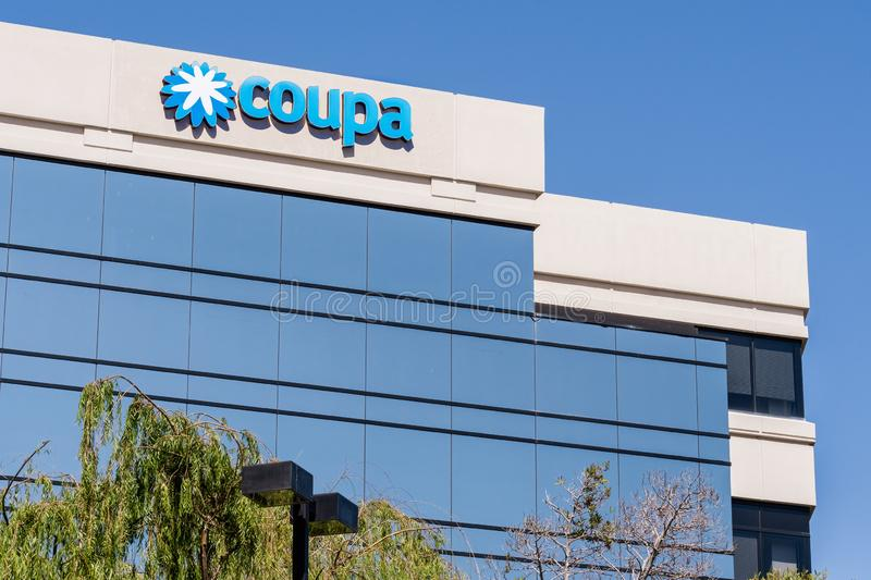August 24, 2019 San Mateo / CA / USA - Coupa headquarters in Silicon Valley; Coupa Software is a global technology platform for. Business Spend Management BSM stock photography