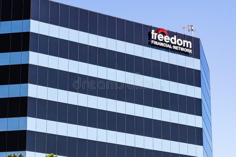 August 24, 2019 San Mateo / CA / USA - Freedom Financial Network headquarters in Silicon Valley; Freedom Financial Network is an. Online financial services royalty free stock photos