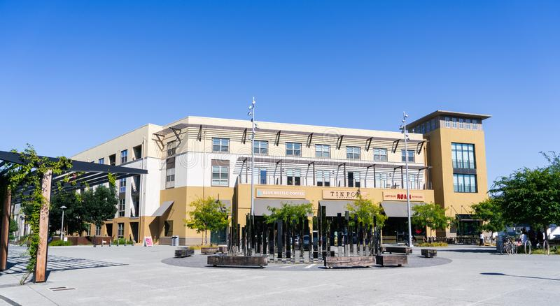 August 24, 2019 San Mateo / CA / USA - Town square with beautiful landscaping and restaurants in San Mateo, Silicon Valley, San royalty free stock photo