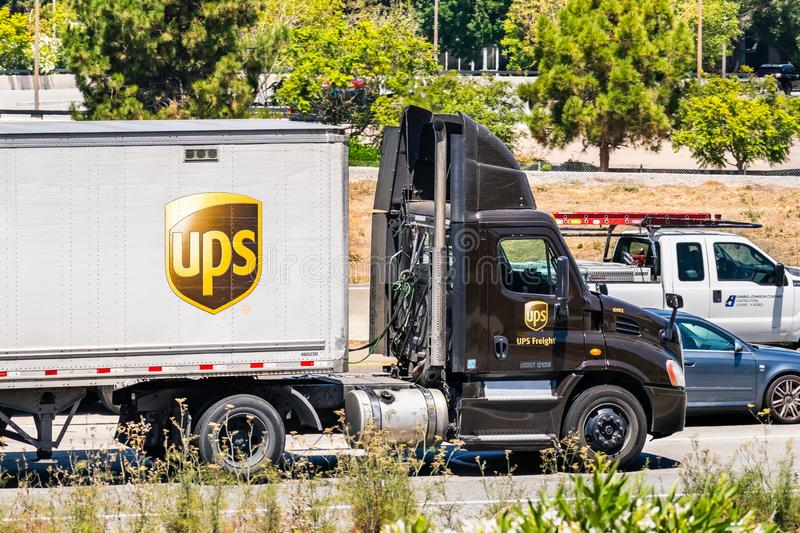 August 6, 2019 Santa Clara / CA / USA - UPS United Parcel Service truck driving on the freeway in South San Francisco Bay area stock photography