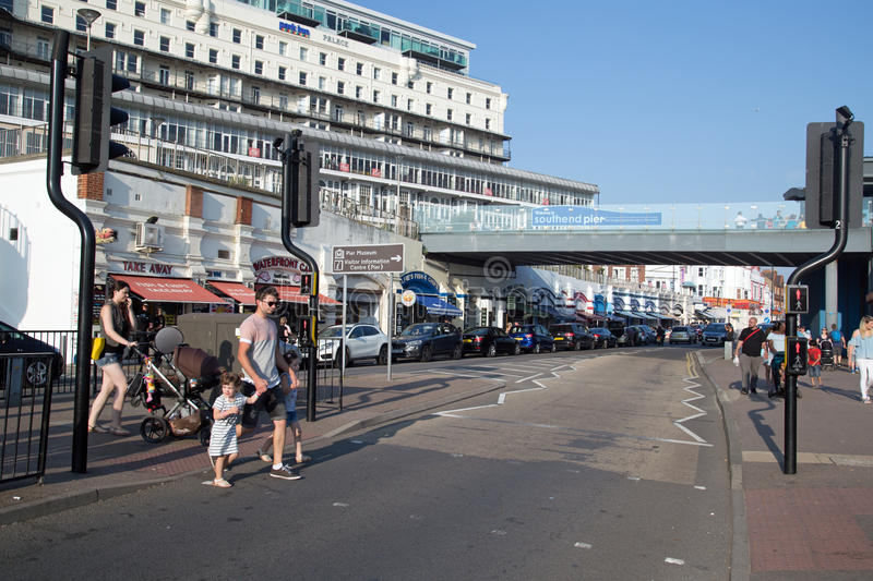 August 2017, Southend On Sea, A busy Bank Holiday in summer season. Southend On Sea, Essex, busy with visitors and tourists during the summer season stock photos