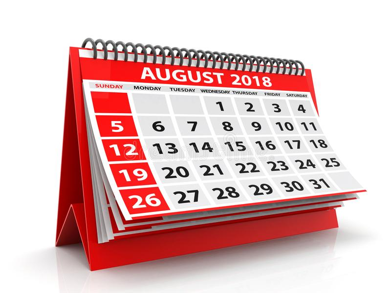 August Spiral Calendar 2018 d'isolement à l'arrière-plan blanc 3d rendent image libre de droits