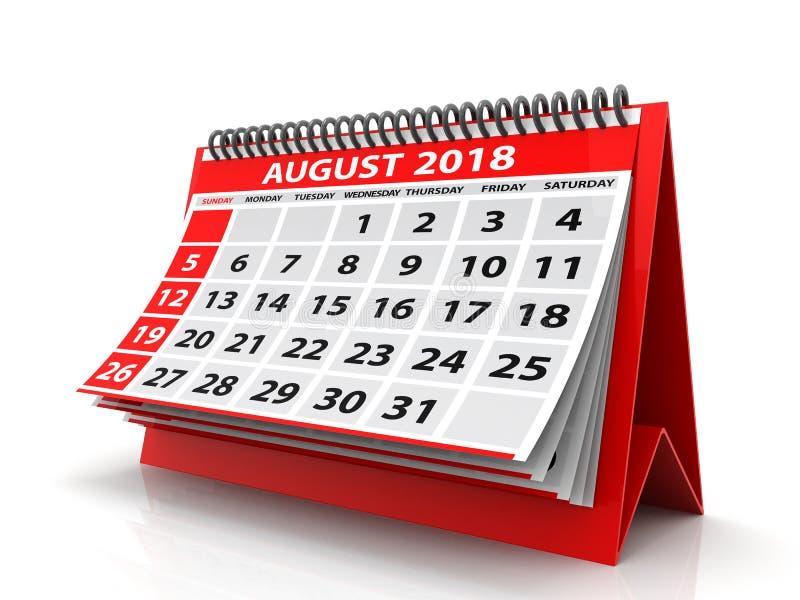 August Spiral Calendar 2018 lokalisiert im weißen Hintergrund 3d übertragen lizenzfreie abbildung