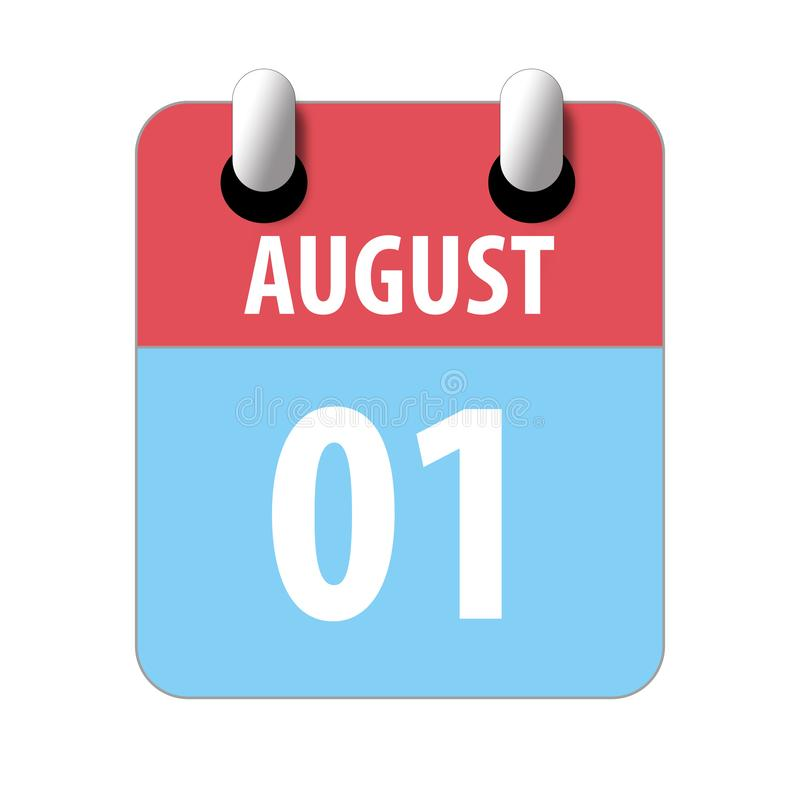 august 1st. Day 1 of month, Simple calendar icon on white background. Planning. Time management. Set of calendar icons for web vector illustration