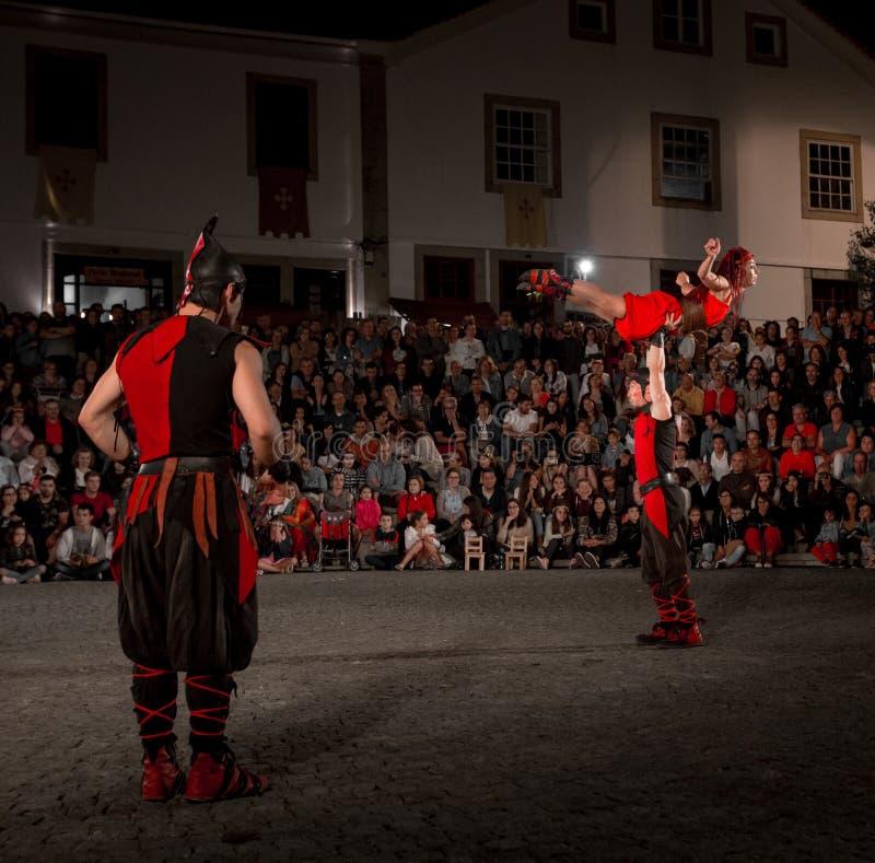 11 August 2019 - Street Circus Show during the Medieval Event `Viagem Medieval em Terra de Santa Maria` in Santa Maria da Feira. 11 August 2019 - Street Circus royalty free stock image