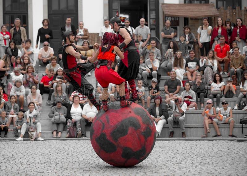 2 August 2019 - Street Circus Show during the Medieval Event `Viagem Medieval em Terra de Santa Maria` in Santa Maria da Feira. 2 August 2019 - Street Circus stock photo