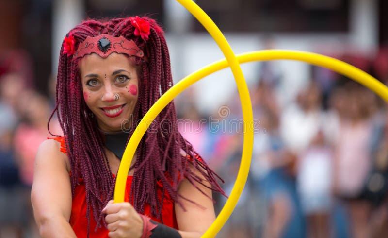 2 August 2019 - Street Circus Show during the Medieval Event `Viagem Medieval em Terra de Santa Maria` in Santa Maria da Feira. 2 August 2019 - Street Circus royalty free stock image