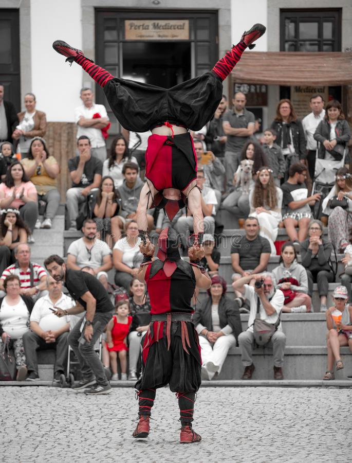 2 August 2019 - Street Circus Show during the Medieval Event `Viagem Medieval em Terra de Santa Maria` in Santa Maria da Feira. 2 August 2019 - Street Circus stock photos