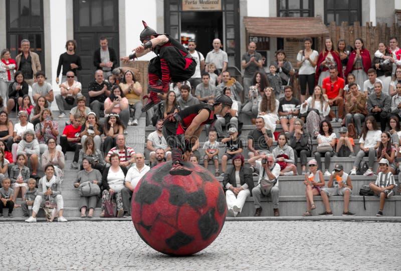2 August 2019 - Street Circus Show during the Medieval Event `Viagem Medieval em Terra de Santa Maria` in Santa Maria da Feira. 2 August 2019 - Street Circus stock image