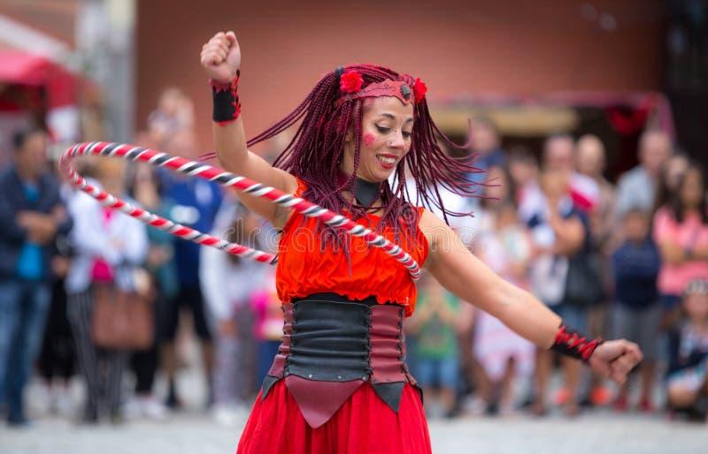 2 August 2019 - Street Circus Show during the Medieval Event `Viagem Medieval em Terra de Santa Maria` in Santa Maria da Feira. 2 August 2019 - Street Circus royalty free stock photos