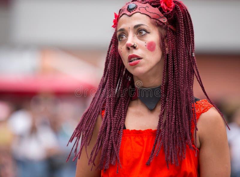 2 August 2019 - Street Circus Show during the Medieval Event `Viagem Medieval em Terra de Santa Maria` in Santa Maria da Feira. 2 August 2019 - Street Circus stock images