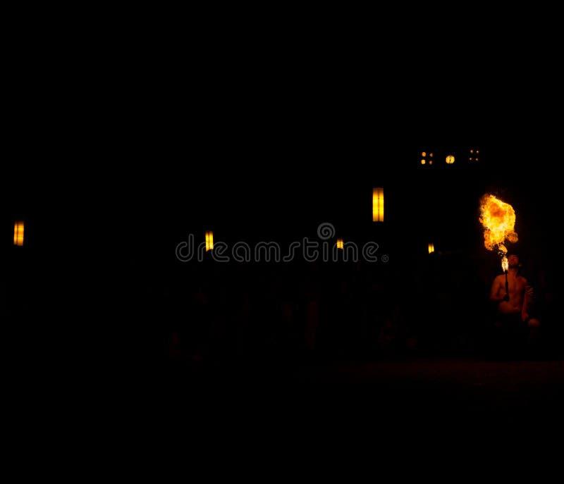 11 August 2019 - Street Fire Show during the Medieval Event `Viagem Medieval em Terra de Santa Maria` in Santa Maria da Feira. 11 August 2019 - Street Fire Show stock photos