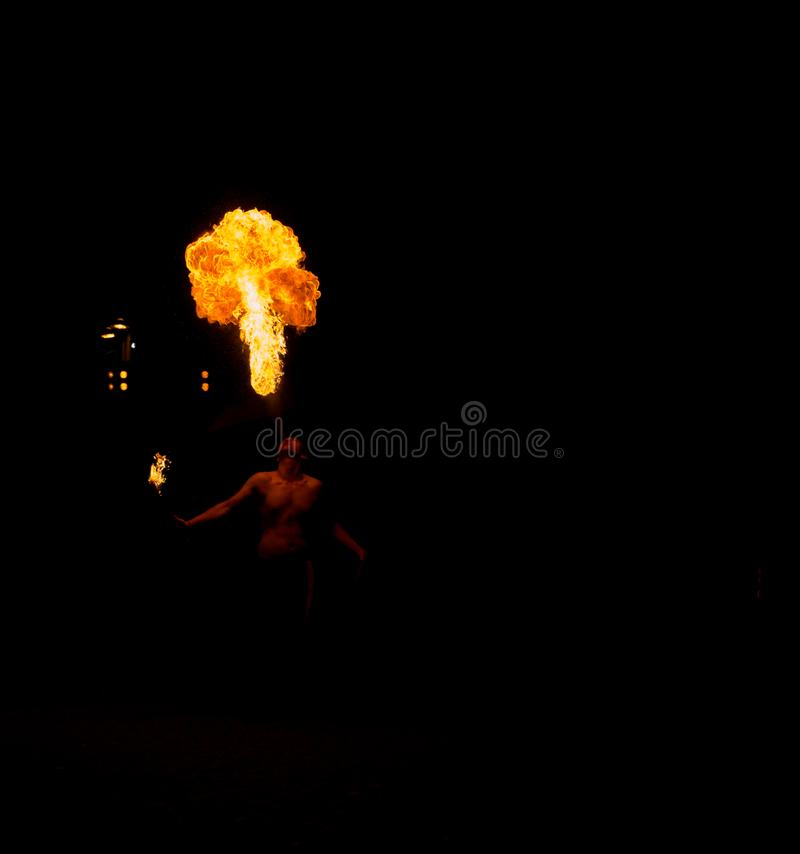 11 August 2019 - Street Fire Show during the Medieval Event `Viagem Medieval em Terra de Santa Maria` in Santa Maria da Feira. 11 August 2019 - Street Fire Show royalty free stock photos