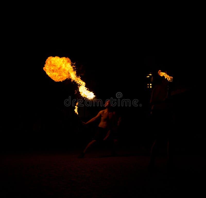 11 August 2019 - Street Fire Show during the Medieval Event `Viagem Medieval em Terra de Santa Maria` in Santa Maria da Feira. 11 August 2019 - Street Fire Show stock images