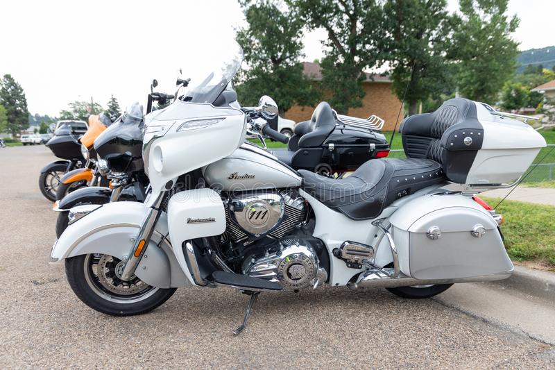 Beautiful Indian motorcycle parked on Main Street of Sturgis, South Dakota. AUGUST 5, 2018, STURGIS, SD: 500,000 bikers bring their motorcycles to Sturgis royalty free stock images